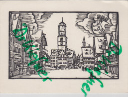 Biberach Riß, Marktplatz, Holzschnitt, Um 1950 - Pittura & Quadri