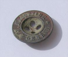 """OBJETS - Bouton Bronze """"J. EXCOFFIER - GENEVE"""" (Revers : """"B & C - Paris) - Diamètre 16 Mm - Buttons"""