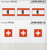 2x3 In Farbe Flaggen-Sticker Schweiz+Berlin 4€ Kennzeichnung Alben Karten Sammlungen LINDNER 632+646 Helvetia Westberlin - Briefmarken