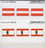 2x3 Flaggen-Sticker In Farbe Westberlin+Österreich 4€ Kennzeichnung Alben Karte Sammlung LINDNER 632+644 Austria Germany - Timbres