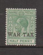 Bahamas 1918 War Tax Overprint On 1/2d Green KGV MNH , Some Natural Gum Creasing - Bahamas (1973-...)
