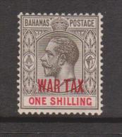 Bahamas 1918 War Tax Overprint In Red On 1 Shilling KGV MLH - Bahamas (1973-...)