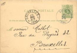 Carte Postale 1884 Bruxelles Ypres - Entiers Postaux