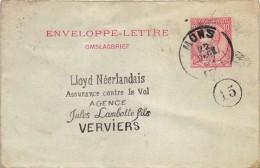 Carte Lettre Lloyd Assurances Verviers Mons 1899 - Entiers Postaux