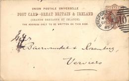 Post Card Great Britain & Ireland 1885 Pour Verviers - Entiers Postaux