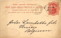 Post Card Great Britain & Ireland 1897 Pour Verviers - Entiers Postaux