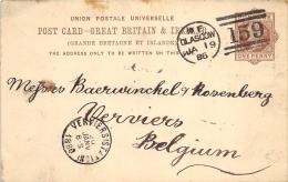 Post Card Great Britain & Ireland 1886 Pour Verviers  Ipswich - Entiers Postaux