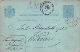 Briefkaart 1892 Stratum Eindhoven - Verviers - Entiers Postaux