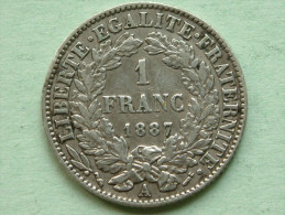 1887 A - 1 Franc / KM 822.1 ( Uncleaned - For Grade, Please See Photo ) ! - H. 1 Franc
