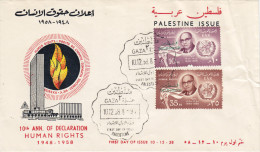 Palestine Human's Right 2v.compl.set On Official Illustrated FDC Gaza 1958- Fine Condition- Scarce-SKRILL PAY.ONLY - Palestine