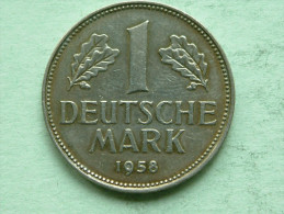1958 J - 1 Mark / KM 110 ( Uncleaned - For Grade, Please See Photo ) ! - [ 7] 1949-… : FRG - Fed. Rep. Germany