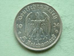 1934 D - 5 ReichsMark / KM 83 ( Uncleaned - For Grade, Please See Photo ) ! - [ 4] 1933-1945 : Troisième Reich