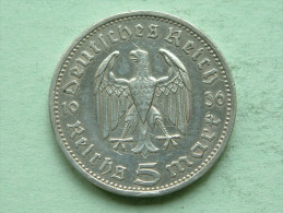 1936 A - 5 ReichsMark / KM 86 ( Uncleaned - For Grade, Please See Photo ) ! - [ 4] 1933-1945 : Troisième Reich