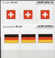 2x3 In Farbe Flaggen-Sticker Schweiz+BRD 4€ Kennzeichnung Alben Karten Sammlungen LINDNER 646+630 Flags Helvetia Germany - Matériel