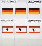 2x3 In Farbe Flaggen-Sticker Berlin+BRD 4€ Kennzeichnung Alben Karten Sammlungen LINDNER 632+630 Flag Westberlin Germany - Matériel