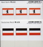 2x3 In Farbe Flaggen-Sticker Berlin+DR 4€ Kennzeichnung Alben Karten Sammlungen LINDNER 628+632 Flags Westberlin 3.Reich - Matériel