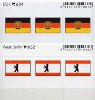 2x3 In Farbe Flaggen-Sticker Berlin+ DDR 4€ Kennzeichnung Alben Karten Sammlung LINDNER 632+634 Flags Westberlin Germany - Matériel