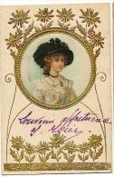 Carte Peinte Soie Art Nouveau Gaufrée Dorée Belle Femme Hand Painted Silk Embossed Golden - Cartes Postales