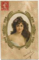Carte Peinte Soie Art Nouveau Gaufrée Dorée Belle Femme Hand Painted Silk Embossed Golden - Ansichtskarten