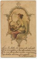Carte Peinte Soie Art Nouveau Gaufrée Dorée Belle Femme Lyre Hand Painted Silk Embossed Golden - Cartes Postales