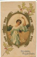 Carte Peinte Soie Art Nouveau Gaufrée Dorée Belle Femme Houx Hand Painted Silk Embossed Golden - Cartes Postales