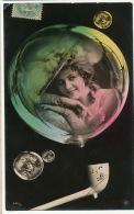 Surrealisme Carte Photo  NPG Montage Bulles Savon Avec Tres Belle Femme Envoi A Champagnac Le Vieux - Altri