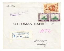 1954/55 Mi# 295 + 313 Auf Luftpost R-Brief Aus Amman Nach Ankara - Durchgangs Und AK.-Stempel - Jordanie