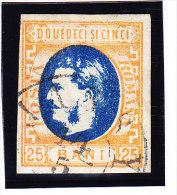 1869 - 25 B. Fürst  Vollrandiges Gestempeltes Prachtstück Rs Papierreste, Gepr. Dr. Gmach BPP - 1858-1880 Moldavie & Principauté