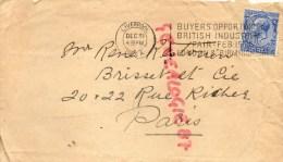 ROYAUME UNI- ANGLETERRE- ENVELOPPE RECOMMANDEE-1925- R. RESTOIN -BRISSET PARIS- LIVERPOOL - Royaume-Uni