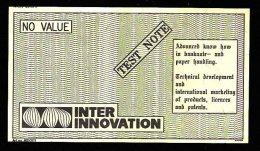 "Test Note ""INTER INNO"", W/o Units, Beids. Druck, RRRRR, UNC , 120 X 68 Mm, Canceled - Sweden"