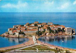Sveti Stefan, Montenegro Postcard Used Posted To UK 1990s Stamp - Montenegro