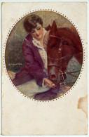 ILLUSTRATORE  - MONESTIER - DONNA CON CAVALLO, 1921 - Cavalli