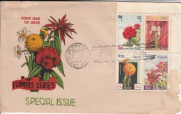 Nepal FDC Scott #227a Block Of 4 Flowers: Rhododendron, Narcissus, Marigold, Poinsetta - Népal