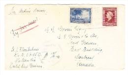 1946 FP-Brief Mit 5 Und 10 Cent Marken Und Blauem Ra4 Hollandia Nach Canada Mit Zensurstempel - Nueva Guinea Holandesa