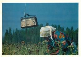 Woman Farmer And Radio, Turkey Postcard Used Posted To UK 1992 Meter - Turkey