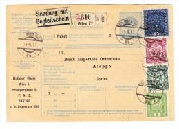 Paket-Ganzsache 10 H Kais.Kön.Stempel Mit Zusatzfrankatur Wien Nach Aleppo Syrien - Ganzsachen