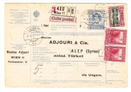 Paket-Ganzsache 10 H Kais.Kön.Stempel Mit Zusatzfrankatur Wien Nach Alep Syrien Via Ungarn - Ganzsachen