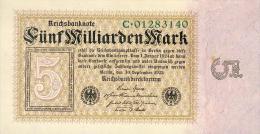 Deutschland, Germany - 5 Mrd. Mark, Reichsbanknote, Ro. 112 A,  ( Serie C ) UNC ( I ), 1923 ! - [ 3] 1918-1933 : República De Weimar