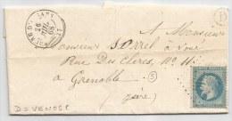 """- Lettre - ISERE - LE  BOURG D'OISANS GC.565 S/TP Napoléon Lauré N°29 + Càd Type  + BR """"D"""" - 1868 - 1863-1870 Napoleon III With Laurels"""