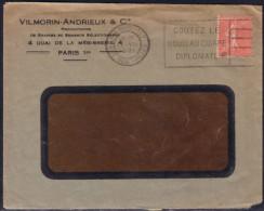 50 C Semeuse Lignée Rouge De Roulettes Obl. Mécanique Paris 117 Le 17.8.1931 Goutez Le Nouveau Cigare Diplomate - 1903-60 Sower - Ligned