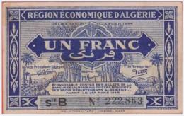 ALGERIE  REGION ECONOMIQUE 1 Franc 31 01 1944 - Série B - Pick 98 - Algeria