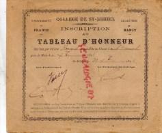 55 - SAINT MIHIEL - COLLEGE  INSCRIPTION AU TABLEAU D´ HONNEUR- ERNEST RENARD  1894 - Diploma & School Reports