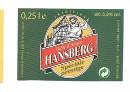 étiquettes De Bière Spéciale Prestige  -  Hansberg   -  Brasserie De Saverne  (67) - Cerveza