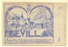 CARTA SEVILLA A INGLATERRA FRANQ E.ESPAÑOL MATº CORREO AEREO SEVILLA Y AL DORSO PUBLICIDAD DE SEVILLA EN FIESTA - 1931-Hoy: 2ª República - ... Juan Carlos I