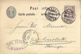 PK 12  Basel - Arnstadt D            1883 - 1882-1906 Stemmi, Helvetia Verticalmente & UPU