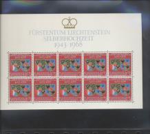 Liechtenstein ** 496  Hochzeitstag Fürst Franz, Fürstin Gina   Kleinbögen Ungefaltet - Unused Stamps