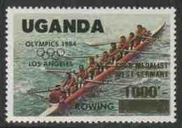 Uganda 1985 Mi 443 + Optd. ** . Rowing – Optd: GOLD MEDALIST WEST GERMANY – Olympic Gold Medal Winners, Los Angeles - Zomer 1984: Los Angeles