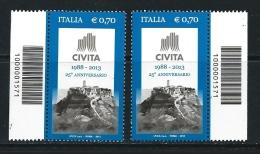 ITALIA  2013 - Associazione CIVITA - 2 Con CODICE A BARRE - Serie Compl. - - 6. 1946-.. Repubblica