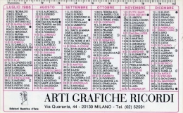 Calendarietto - Arti Grafiche Ricordi - Milano 1986 - Formato Piccolo : 1981-90