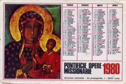 Calendarietto - Pontificie Opere Missionarie 1980 - Formato Piccolo : 1981-90